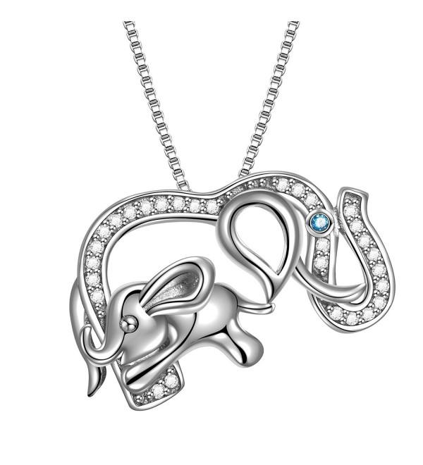 "925 Sterling Silver Lucky Jewelry CZ Elephant Vintage Pendant Necklace- Box Chain 18"" - COLOR 05 - CO186N9OYZG"