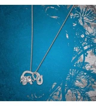 Sterling Elephant Crystal Pendant Necklace in Women's Pendants