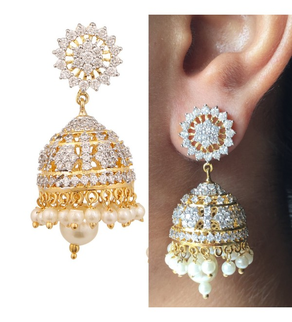 Swasti Jewels Zircon Fashion Jewelry Traditional Ethnic Pearls Jhumka Earrings for Women - C8129LT0ZQL