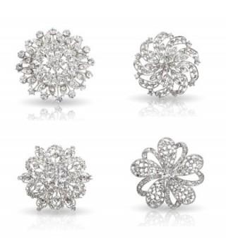 Bundle Monster Womens Fancy Vintage Clear Crystal Bling Bezel Flower Fashion Brooch Mixed Lot - Set 1 - CK1103TWU7V