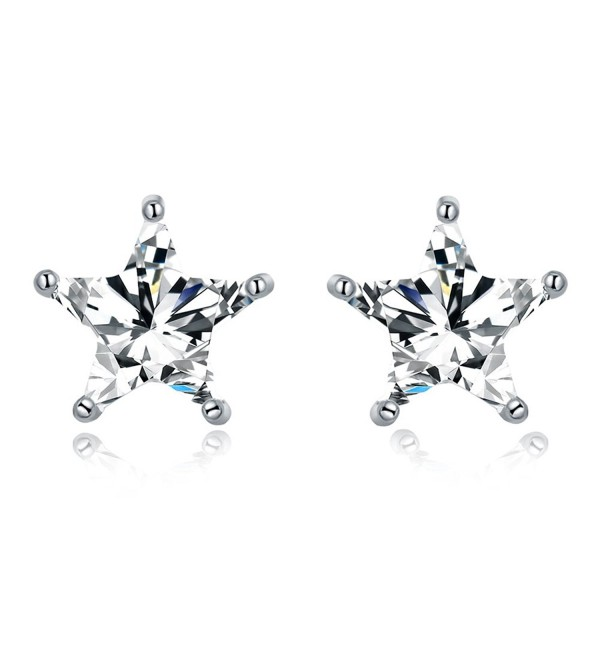 Sparkling Star CZ Earrings 925 Sterling Silver Earrings Cubic Zirconia Clear Crystal Eternity Stud Earrings - C4185Q49689