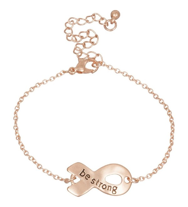 Heirloom Finds Be Strong Ribbon Charm Bracelet in Lovely Rose Gold Tone - CC11EHX9QU3