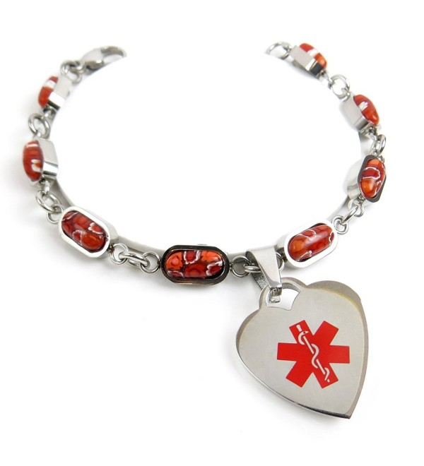 MyIDDr - Pre-Engraved & Customized Pacemaker Charm Medical Bracelet- Red Millefiori Glass - CB11KHICV8B