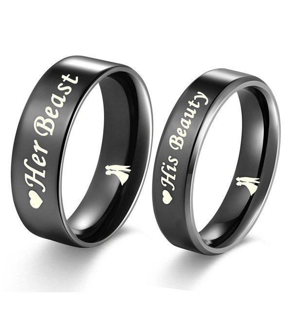"""Aegean Jewelry """"Beast and Beauty"""" Love Style Wedding Band Set Engagement Promise Anniversary Couple Ring - CN12K3SJGNR"""