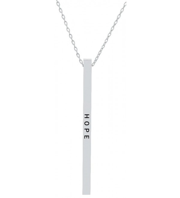 "Inspirational ""HOPE"" Positive Message Mantra Vertical Bar Pendant Necklace - Women's Jewelry - Silver Tone - C4185TDNCOY"