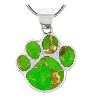 "Dog Paw Pendant Necklace in 925 Sterling Silver with Genuine Turquoise (20"" Length) - Green Turquoise - CT189XWAGT0"