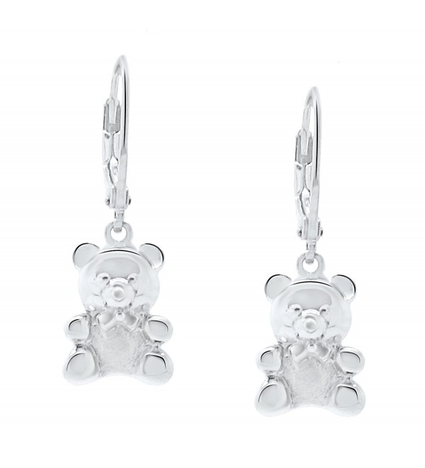 Sterling Silver Teddy Bear Jewelry Earrings Lever Back - CJ11QJXZX9H