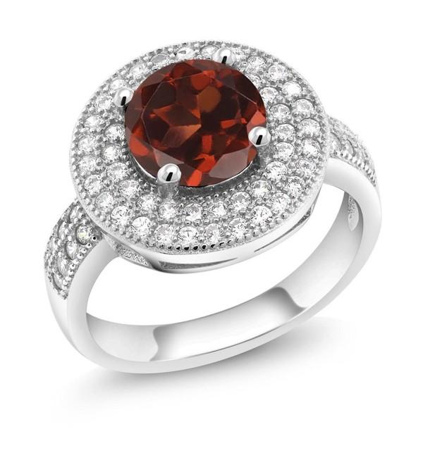 2.76 Ct Round Red Garnet 925 Sterling Silver Gemstone Birthstone Ring (Center Garnet 8mm) - C411EH97MT9
