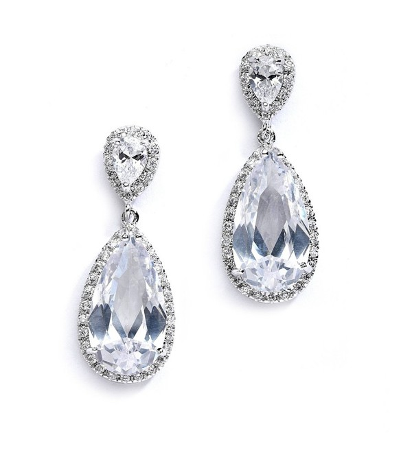 Mariell Cubic Zirconia Earrings for Weddings with Oblong Pear-Shaped Teardrop - Bridal & Evening Dangles - CW127WOZGGB