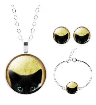 Jiayiqi Black Cat Animal Theme Glass Cabochon Necklace Bracelet Earrings Jewelry Set for Women - No5 - CN129B11W8T