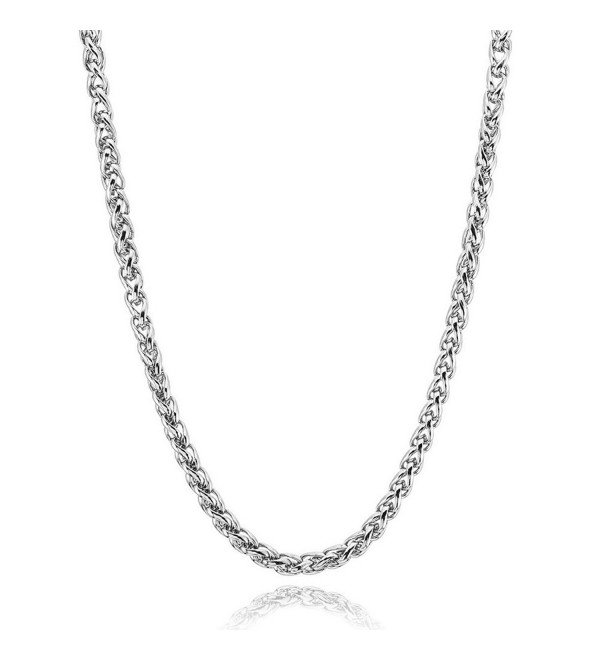 NEOWOO 4mm Stainless Steel Chain Necklace Titanium Steel Wheat Curb Link Silver for Men Women- 19-36inch - CM17YDONWX5