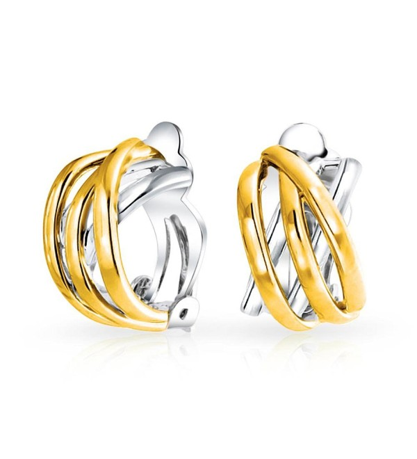 Bling Jewelry Two Tone Gold Plated Criss Cross Half Hoop Clip On Earrings - C311KSBI1GD