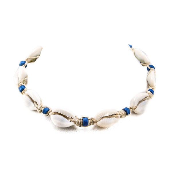 Hemp Choker Necklace with Cowrie Shells and Blue Fimo Beads - C01842LKEX7