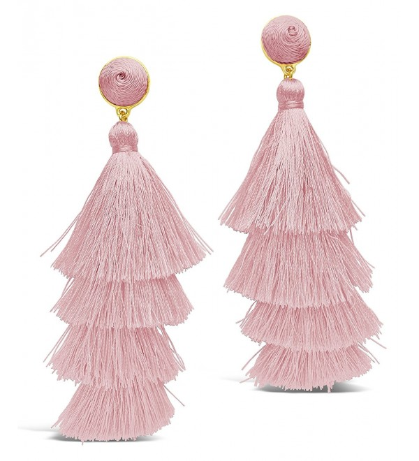 Sterling Forever - Fringe Multi Layered Gold Plated Tiered Dangle Drop Earrings - Blush - CY1898K2QYS