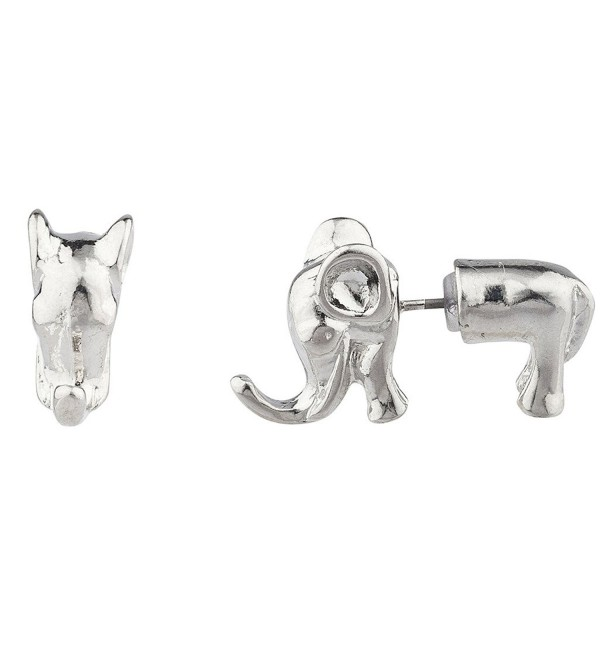 Lux Accessories Silvertone Elephant Animal Front Back Stud Earrings - C1128XNXY9V