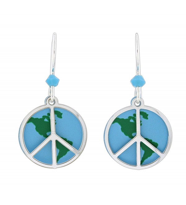 Sienna Sky Peace Sign Over Globe Dangle Earrings - CZ185ARRG4K