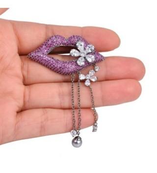 OBONNIE Violet Rhinestone Crystal Flower in Women's Brooches & Pins