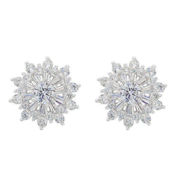 EVER FAITH 925 Sterling Silver Full Cubic Zirconia Snowflake Flower Stud Earrings Clear - CM129H45ME5