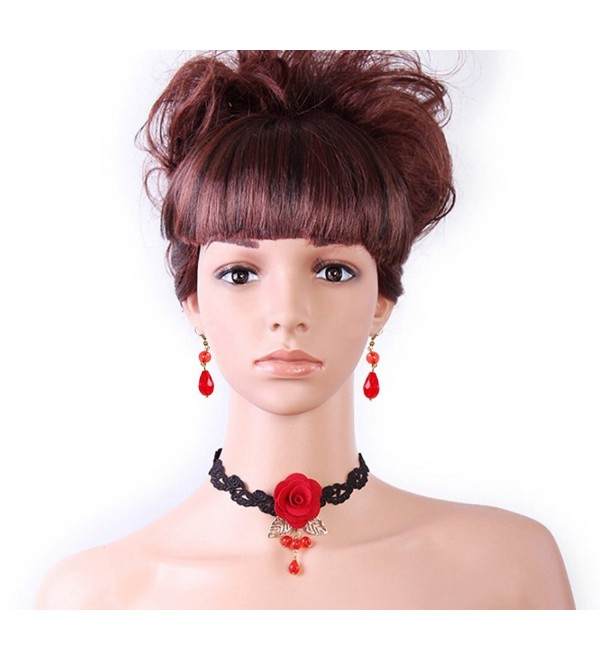 Meiysh Black red Rose Flower Lace Gothic Lolita Beads Pendant Choker Necklace Set - CJ129UQULSH