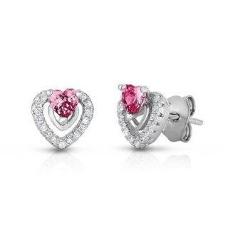 Halo Heart Stud Earring in Sterling Silver with Simulated Birthstone and CZ - C6129G80SSH