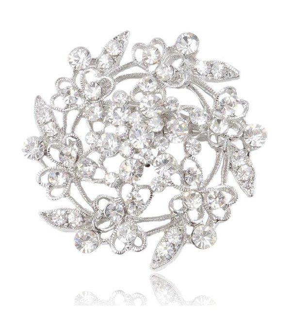 EVER FAITH Austrian Crystal Bridal Heart Flower Filigree Brooch Clear Silver-Tone - CC11DCSI0J7