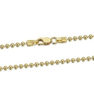 "18K Gold Plated on 925 Sterling Silver 2 mm Ball Chain Necklace 16"" 18"" 20"" 22"" 24"" 28"" in - CB184H93C76"
