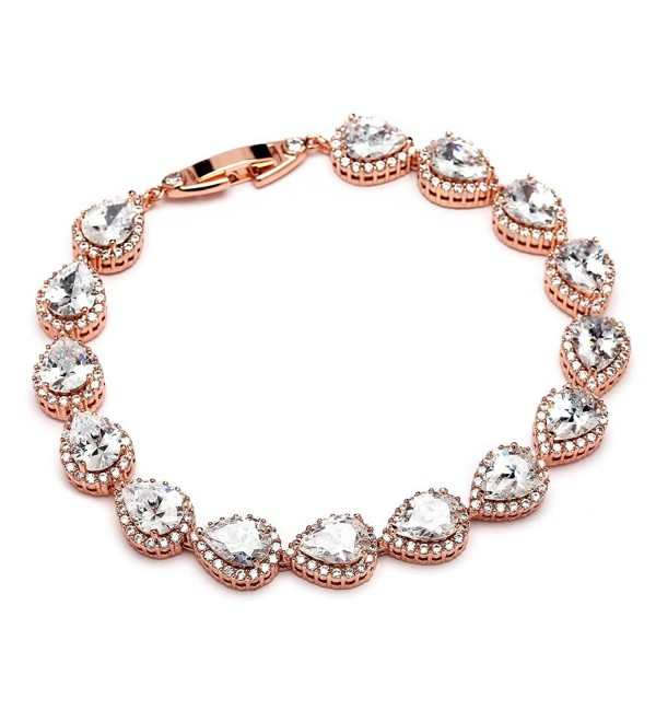 Mariell 14K Rose Gold Plated Pear-Shaped Halo Cubic Zirconia Bridal Tennis Bracelet Wedding Jewelry - CW12MNL80ZR