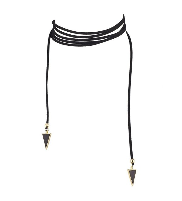 Lux Accessories Black and Gold Tone Triangle End Faux Suede Tie Choker - CG12LQ58WKT