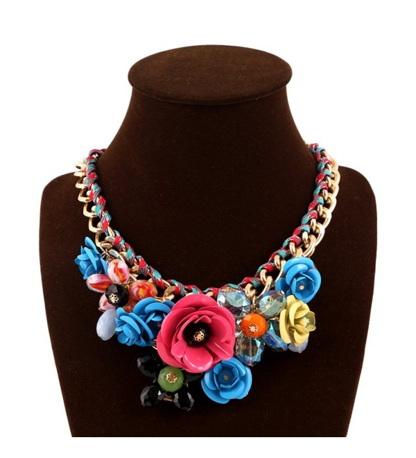 JewelryLove Women's Rose Flower Statement Necklaces Crystal Chokers - Blue+Rose - C312LELL8VF