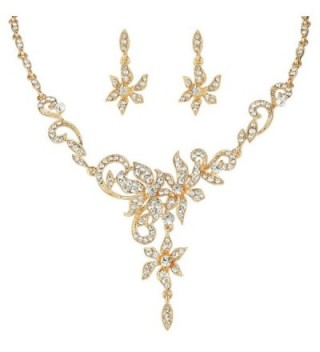 EVER FAITH Women's Austrian Crystal Bridal Floral Vine Leaf Necklace Earrings Set Clear - Gold-Tone - CT11U873P9P