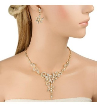 EVER FAITH Austrian Necklace Gold Tone