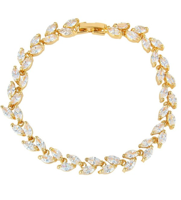 EVER FAITH Bridal Gold-Tone Clear Zircon Leaf Tennis Bracelet - C311YPZZ8LT