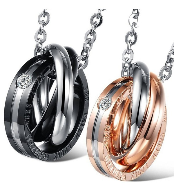 Oidea 2 Pcs Stainless Steel Lover's Message Pendant Necklace- Dual Rings hook-ups with Chain - CK12GRMXDJL