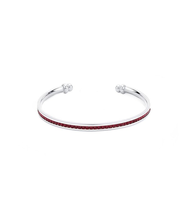 Samie Collection 1.5ctw CZ Birthstone Cuff Bangle Bracelets (2.5Inch) - January Garnet - CW12OB0941W