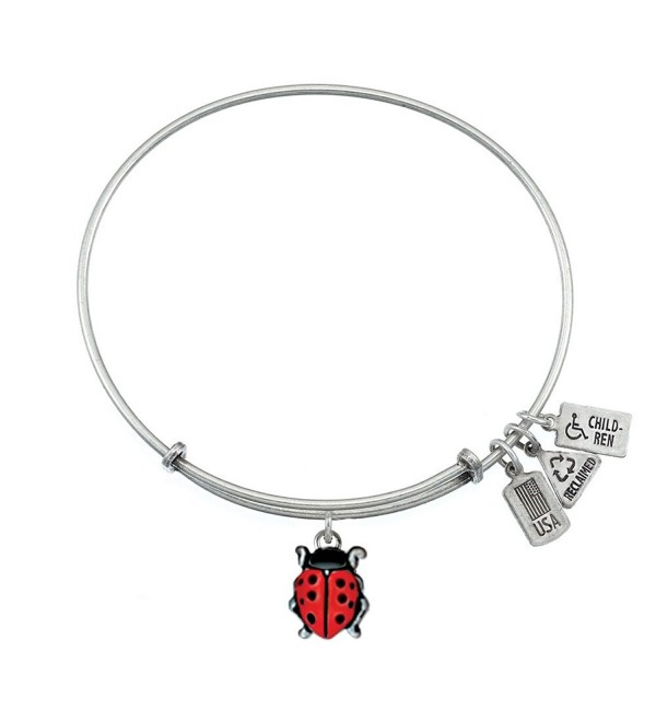 Wind & Fire Ladybug Silver Finish Charm Bangle - CV12CLT7ZDJ