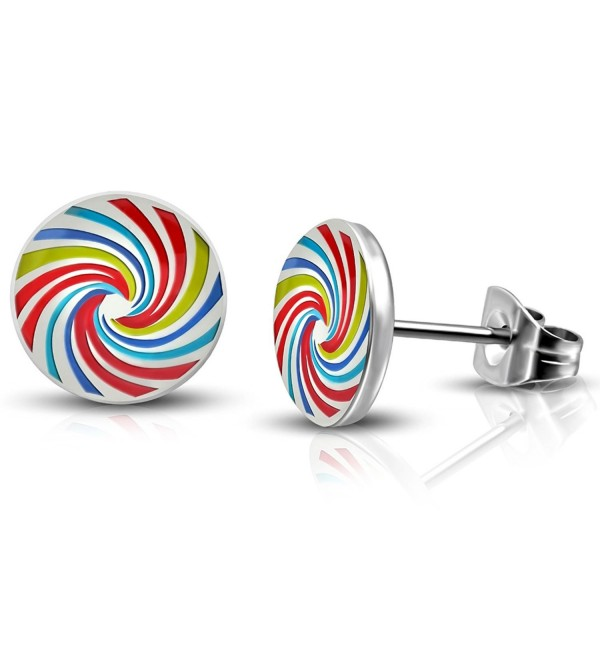 Steel Rainbow Spiral Lollipop Candy Circle Round Button Stud Post Earrings - C9188S02TSR