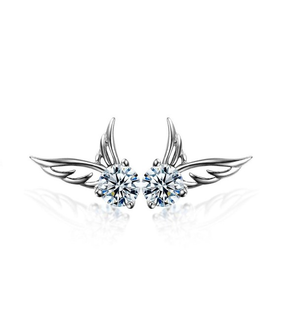 Angel Wings Stud Earrings with White Crystals from Swarovski 18 ct White Gold Plated for Women and Girls - 0W656264798