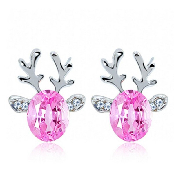 Crystal Gemstone Earrings luxury three dimensional Christmas reindeer earing/necklace set (seperately) - Pink - CP12JZ1KXQR