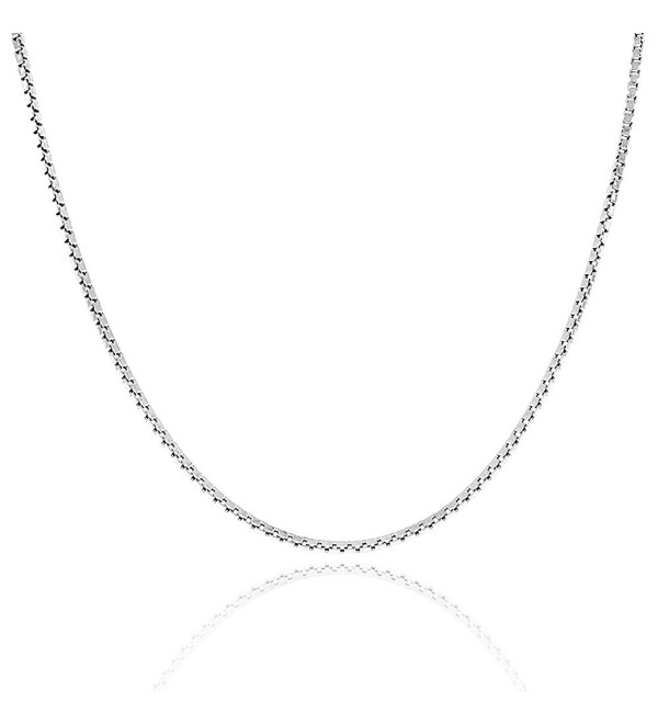 ".925 Sterling Silver 0.8mm Box Chain Italian made Necklace- 16""- 18""- 20""- 22""- 24'' - C812M81CN6J"