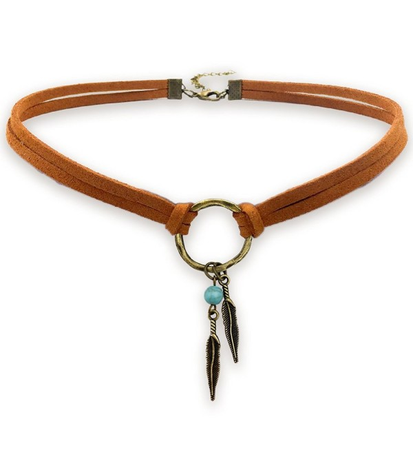Suede Choker Necklace for Women- Native American Indian Jewelry Bohemian Feather Handmade Leather Jewelry - CH182Y6AC47