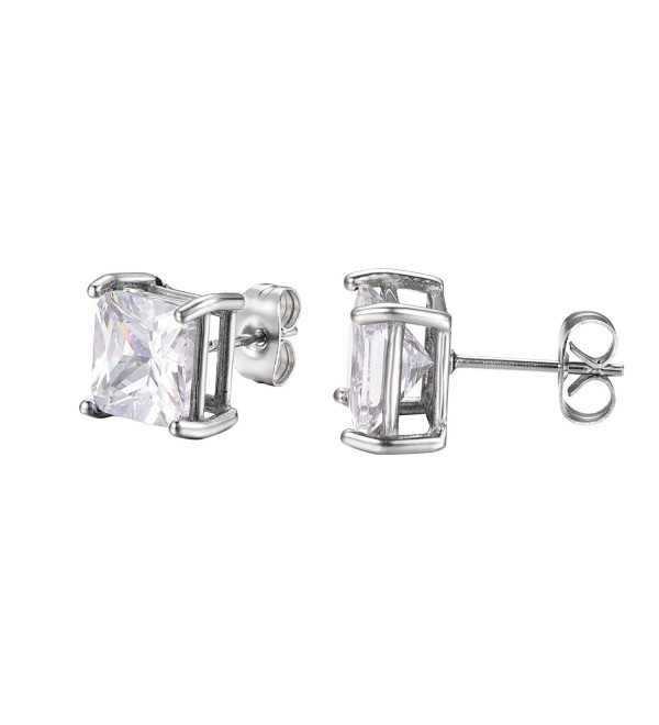 Stainless Steel Princess Cut White Cubic Zirconia Stud Earrings With Push Backings- By Regetta Jewelry - CB12G7C9LM9