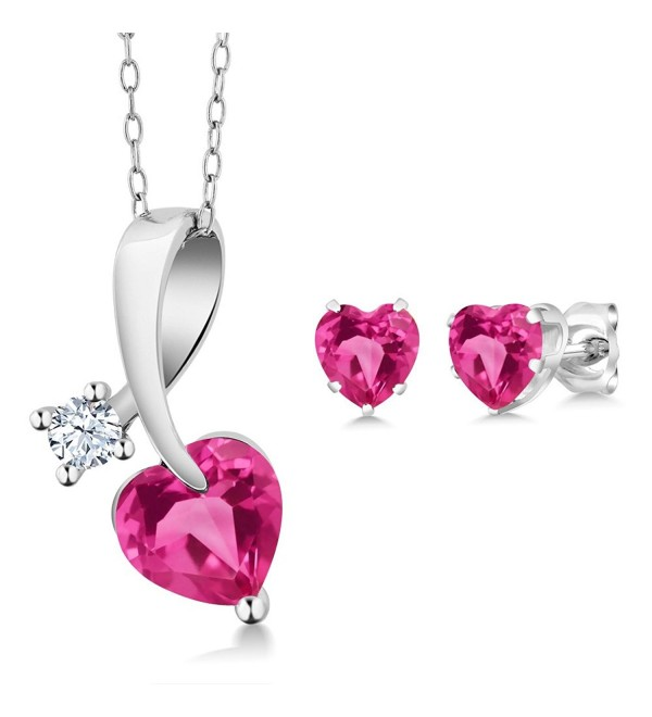 2.71 Ct Heart Shape Pink Created Sapphire 925 Sterling Silver Pendant Earrings Set - CD11UGVBJKF