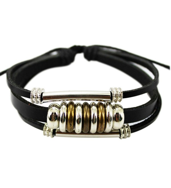 Wild Wind (TM) Christmas Unique Metal Ring Tube Multistrand Leather Adjustable Wrap Bracelet - C1126HARX8J