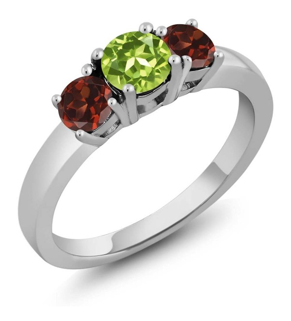 1.34 Ct Round Green Peridot Red Garnet 925 Sterling Silver 3-Stone Ring - CI11H0C6L0V