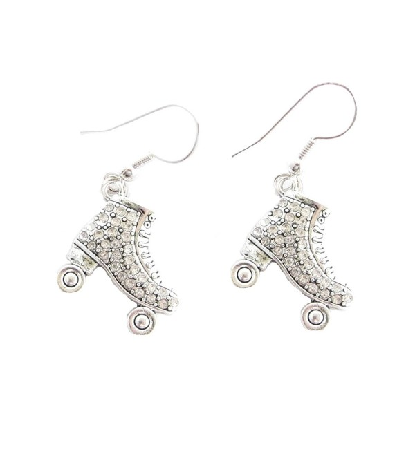 Roller Skate Clear Crystals Fashion French Hook Earrings - CA11FINSIXH