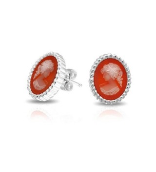 Bling Jewelry Red Simulated Resin Cameo Rope Edged Stud earrings 925 Sterling Silver 13mm - C511BDQRCAR