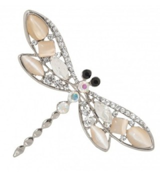"Jeweled Dragonfly Brooch Pin 1.7"" with Crystal and Stone Accents - CY187QWHKYO"