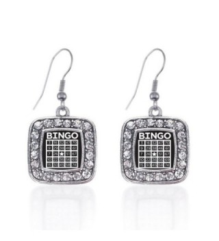 Inspired Silver Bingo Classic Charm Earrings Square French Hook Clear Crystal Rhinestones - CG124J2WKTP