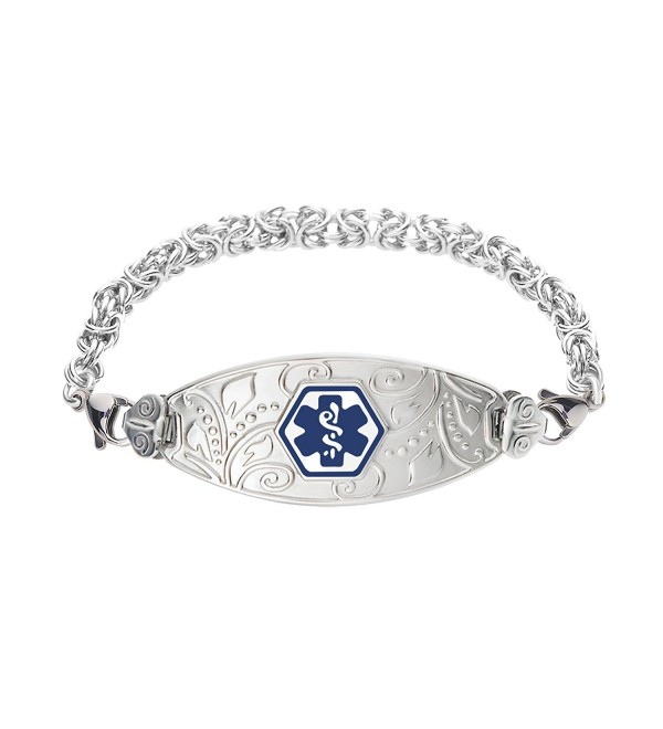 Divoti Custom Engraved Lovely Filigree Medical Alert Bracelet -Handmade Byzantine-Deep Blue - CU12CWBL2QH