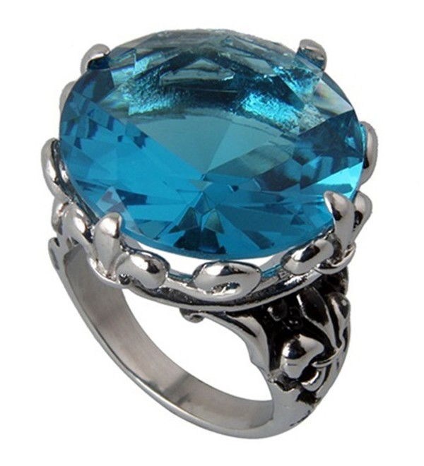 24MM Stainless Steel High Polished- Oxidized Blue CZ Vintage Style Cocktail Ring (Size 5 to 9) - CV11BC4FRSP